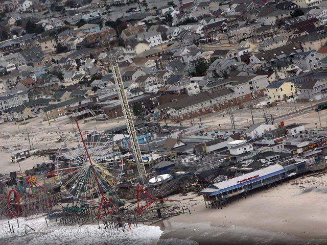 Aerial shot of shore damage from Hurricane Sandy.