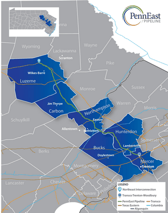 Proposed route of the PennEast Pipeline.