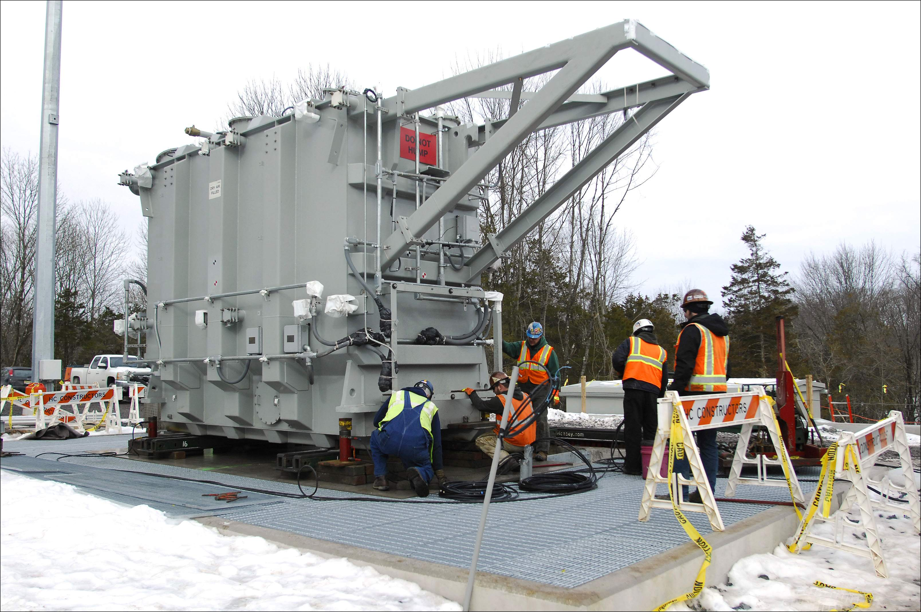 A transformer is installed at a JCP&L substation in West Amwell.