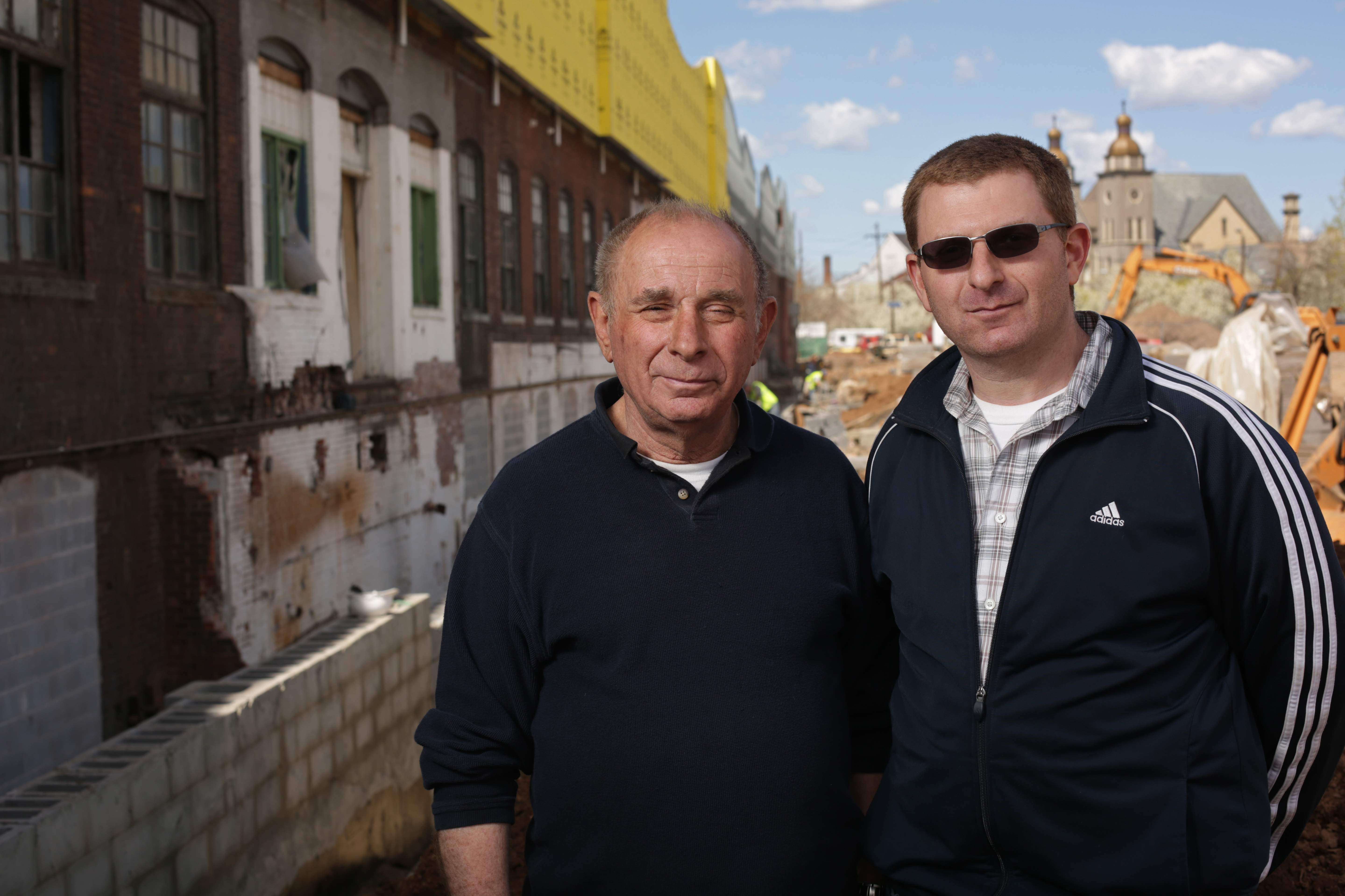 Shimon Einhorn and his son Shamir Einhorn, co-directors of Contempo Space in Passaic.  The two are pictured in front of the future Contempo Plaza.