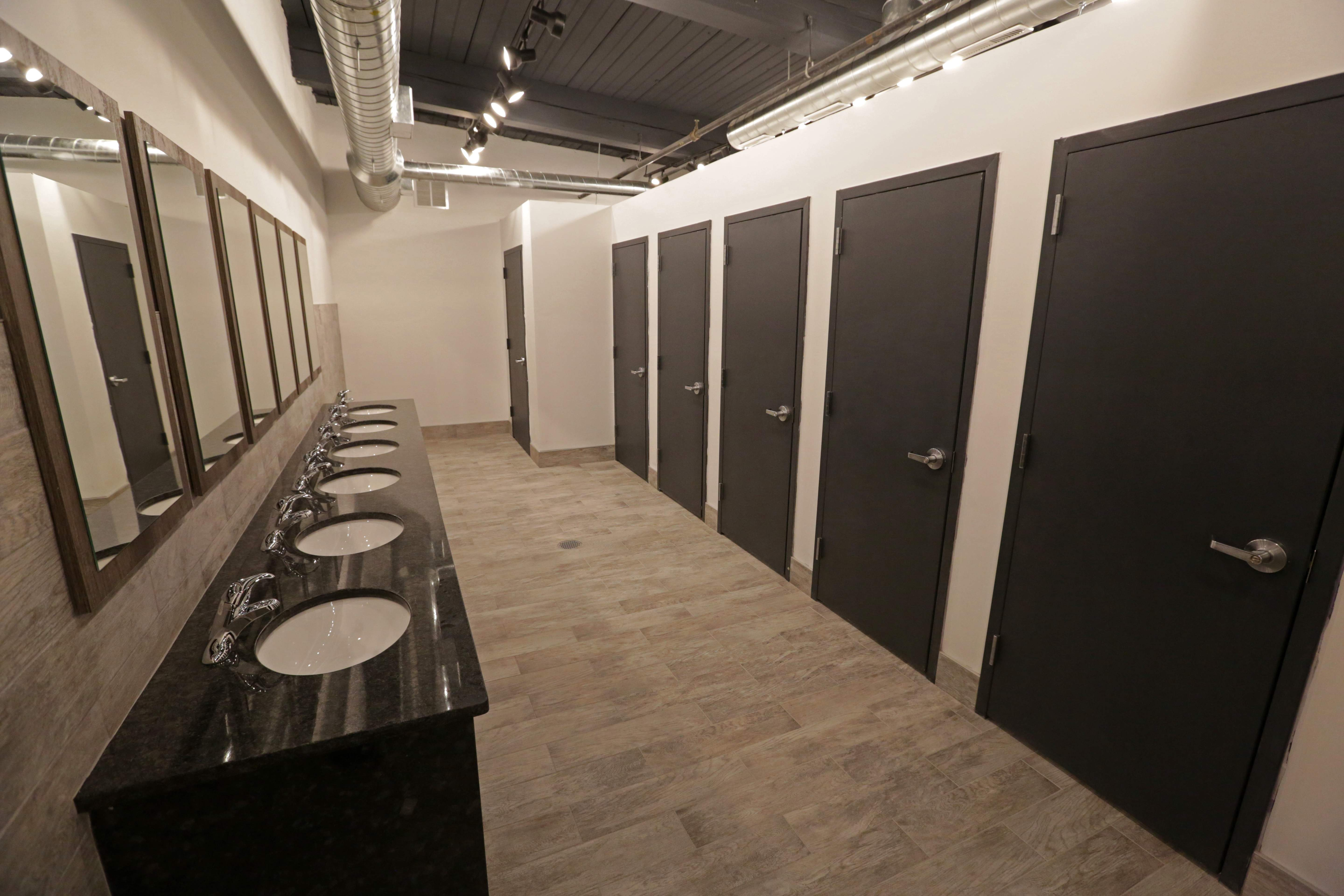 The women's bathroom in the Factory 220 event space at Contempo Plaza in Passaic.