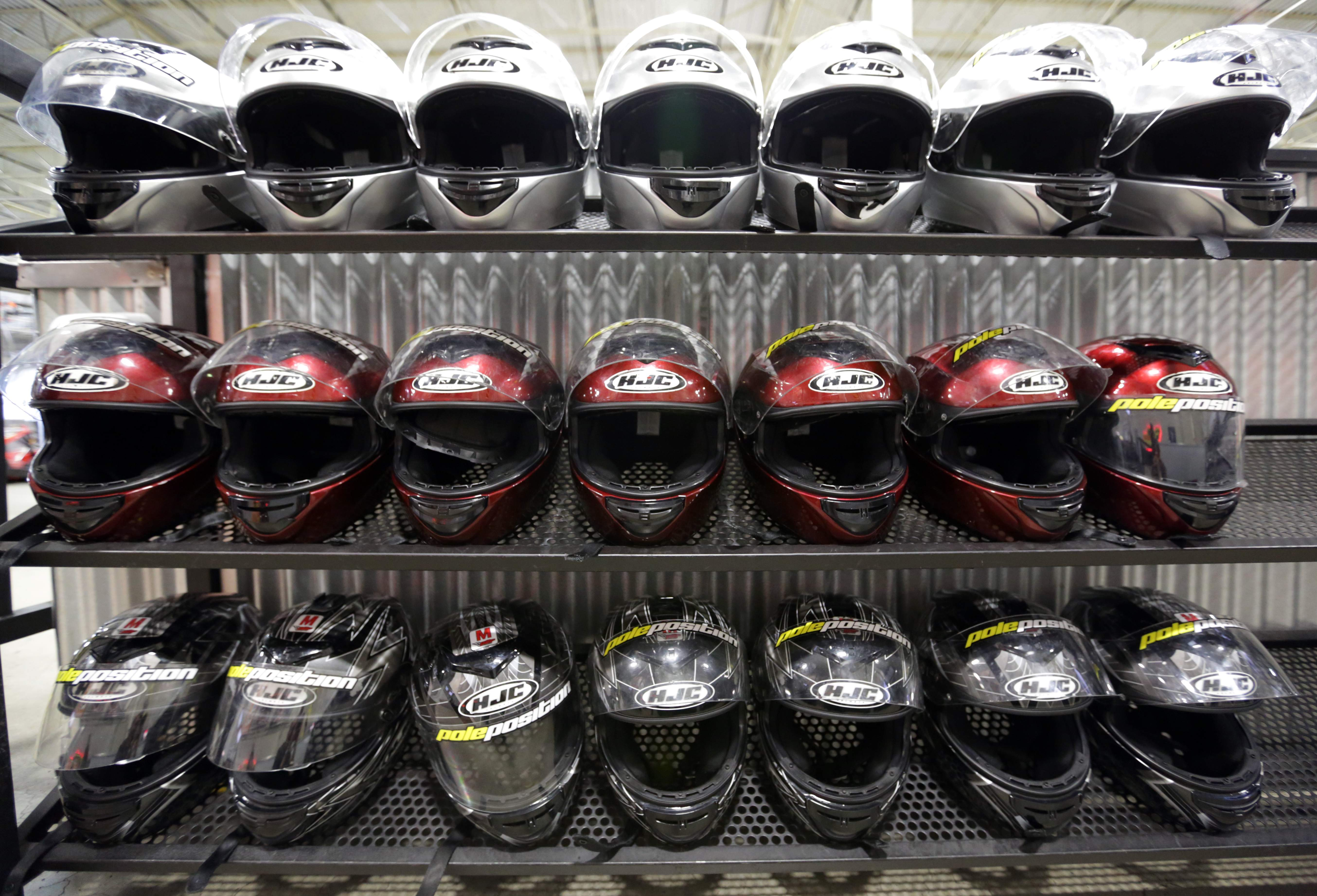 Helmet variations one can wear at Pole Position Raceway in Jersey City.