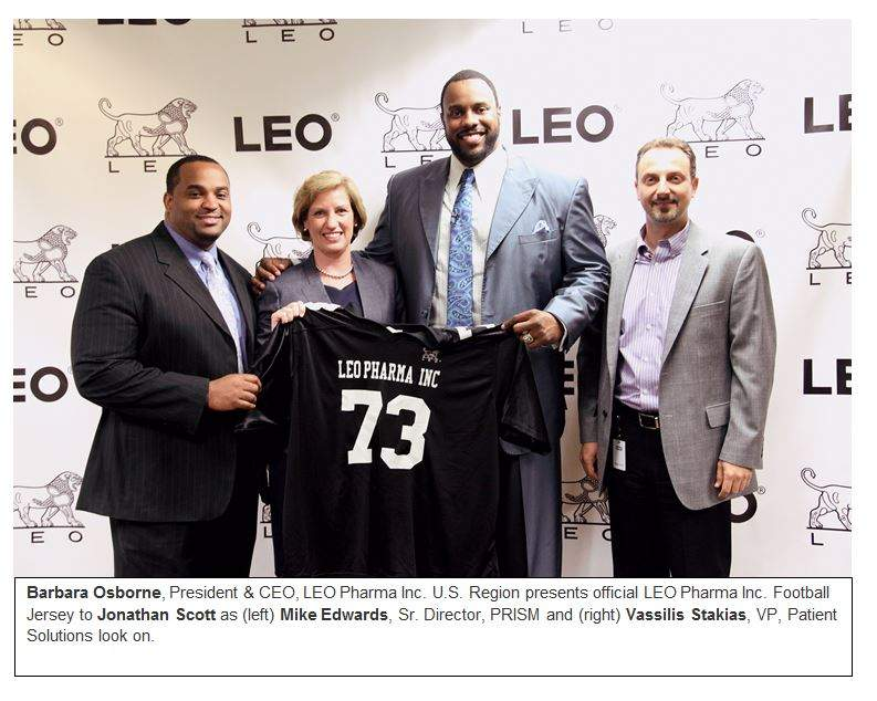 LEO Pharma Inc. announced that Jonathan Scott, professional football player, has partnered with them to help raise awareness for psoriasis across the US.  Pictured are Mike Edwards, PRISM senior director; Barbara Osborne, LEO Phar,a Inc. president and CEO; Jonathan Scott, professional football player; Vassilis Stakias, Patient Solution vice president.