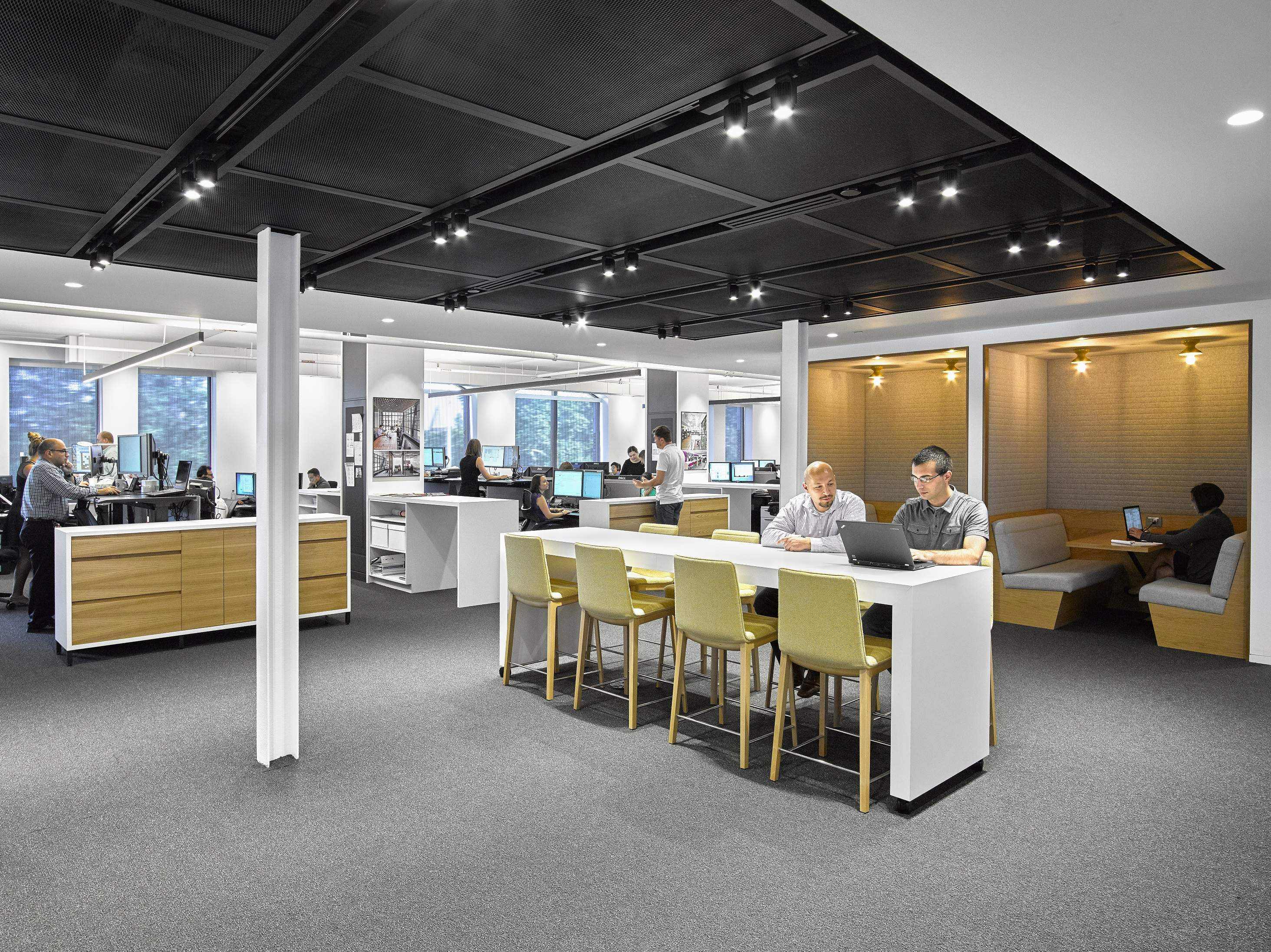 Collaboration comes in many forms at Gensler's refurbished office with choices of where to work.