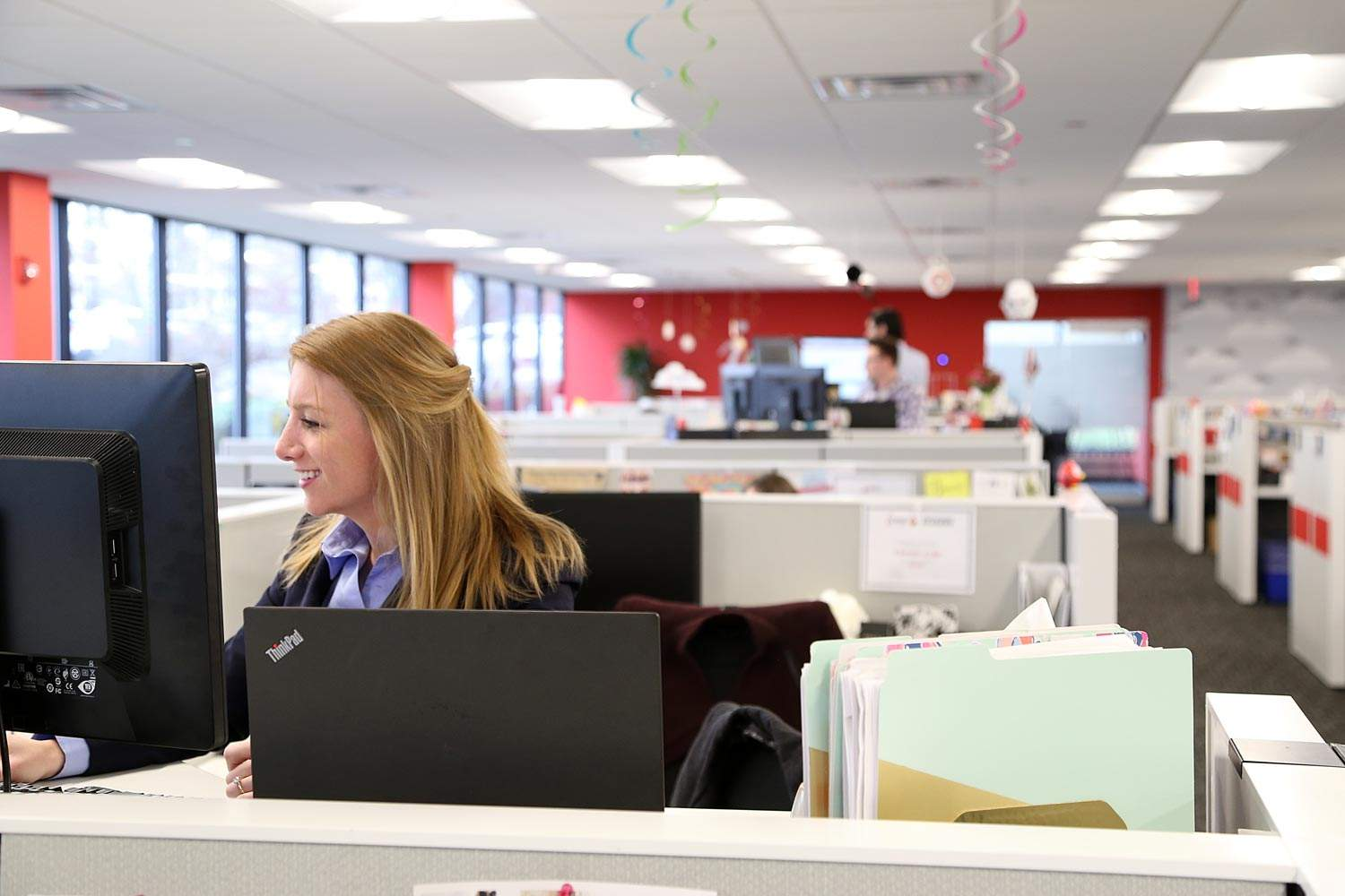 The iCIMS team takes advantage of standing desks throughout the work day at their Matawan office.