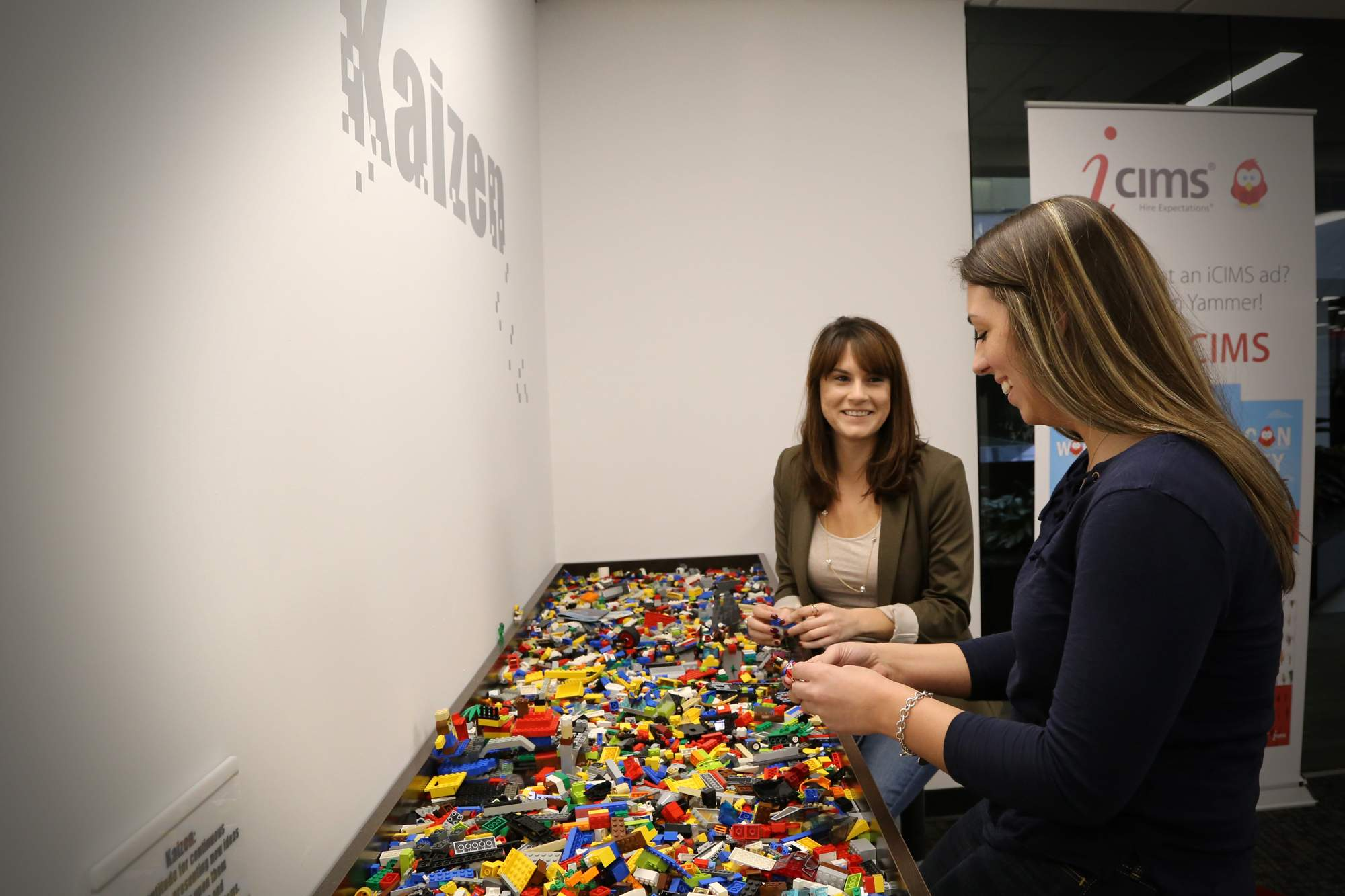 Employees meet at the office's designated Lego table to demonstrate core competency in a unique way.