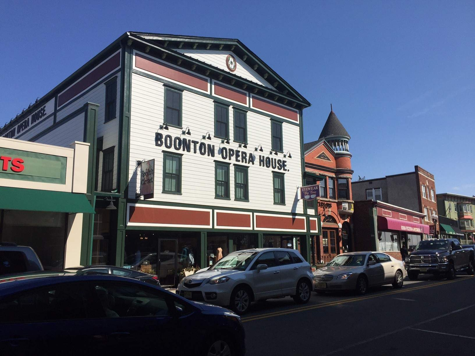 The historic Boonton Opera House, which the marketing firm iMedia has moved into, still has its sign intact, overlooking the town's Main Street.