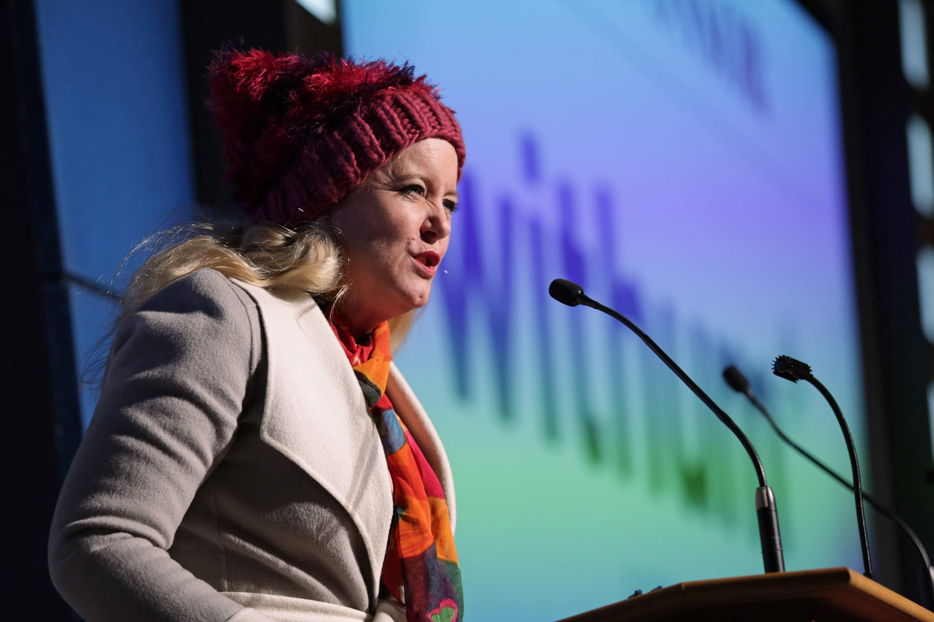 Kimberlee S. Phelan, partner and international service practice leader at WithumSmith+Brown P.C., wears the pink hat from the Women's March during Withum's sponsor remarks at the Best 50 Women in Business event.