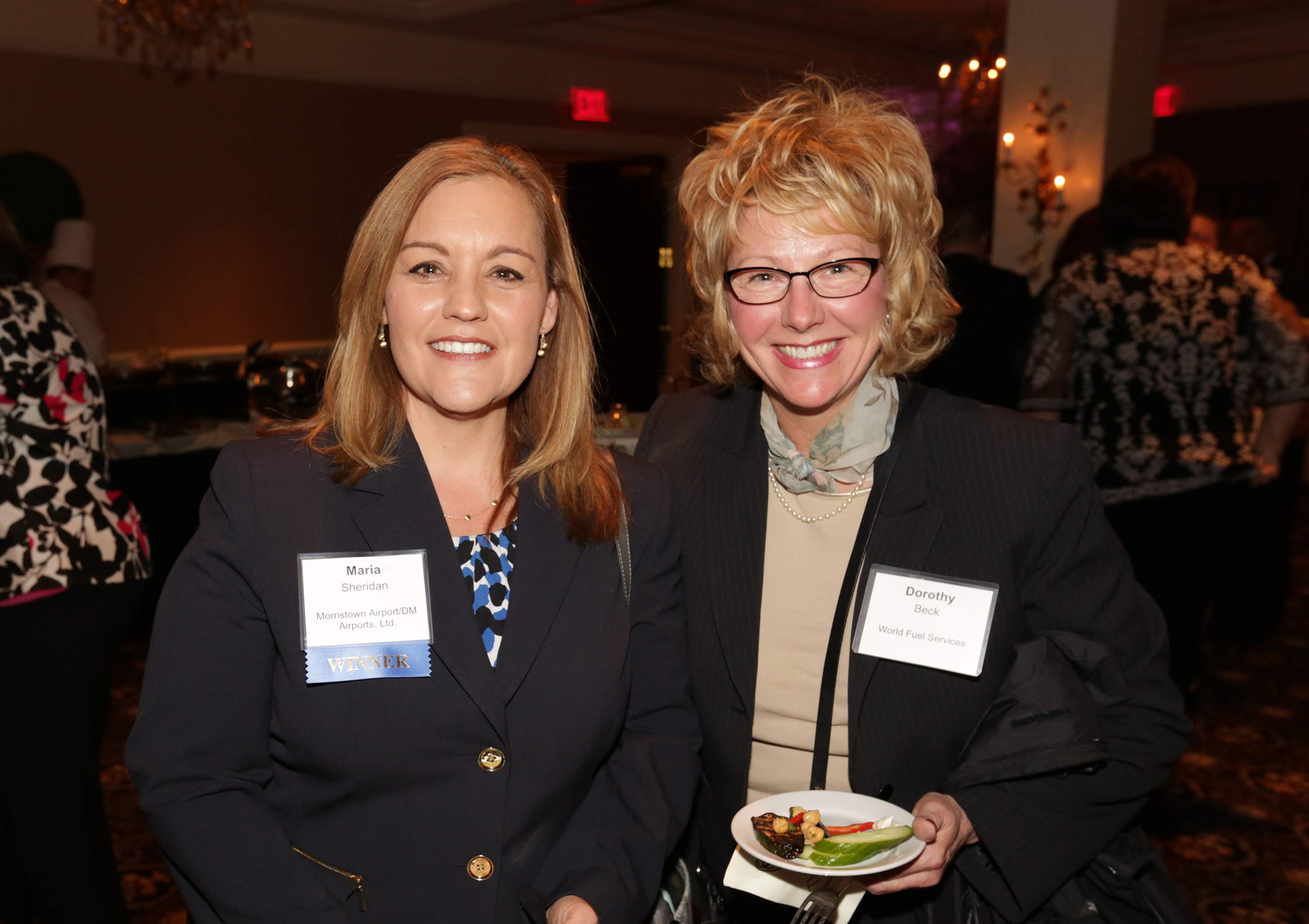 Pictured are Maria Sheridan of Morristown Airport/DM Airports, Ltd. (left) and Dorothy Beck of World Fuel Services. Sheridan was a Best 50 Women in Business honoree!