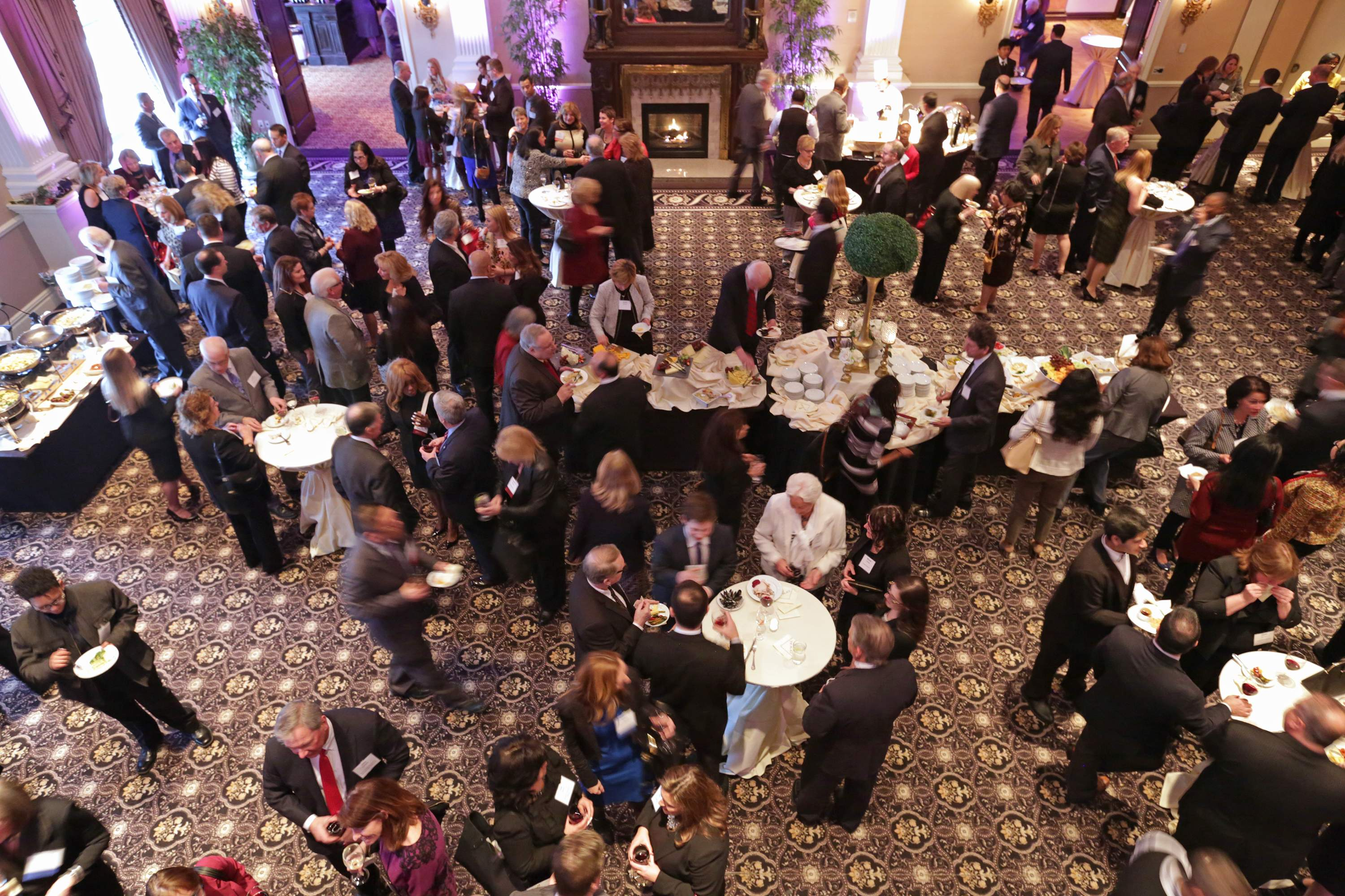 An aerial view of the cocktail reception of the Best 50 Women in Business event held on Monday at The Palace in Somerset.