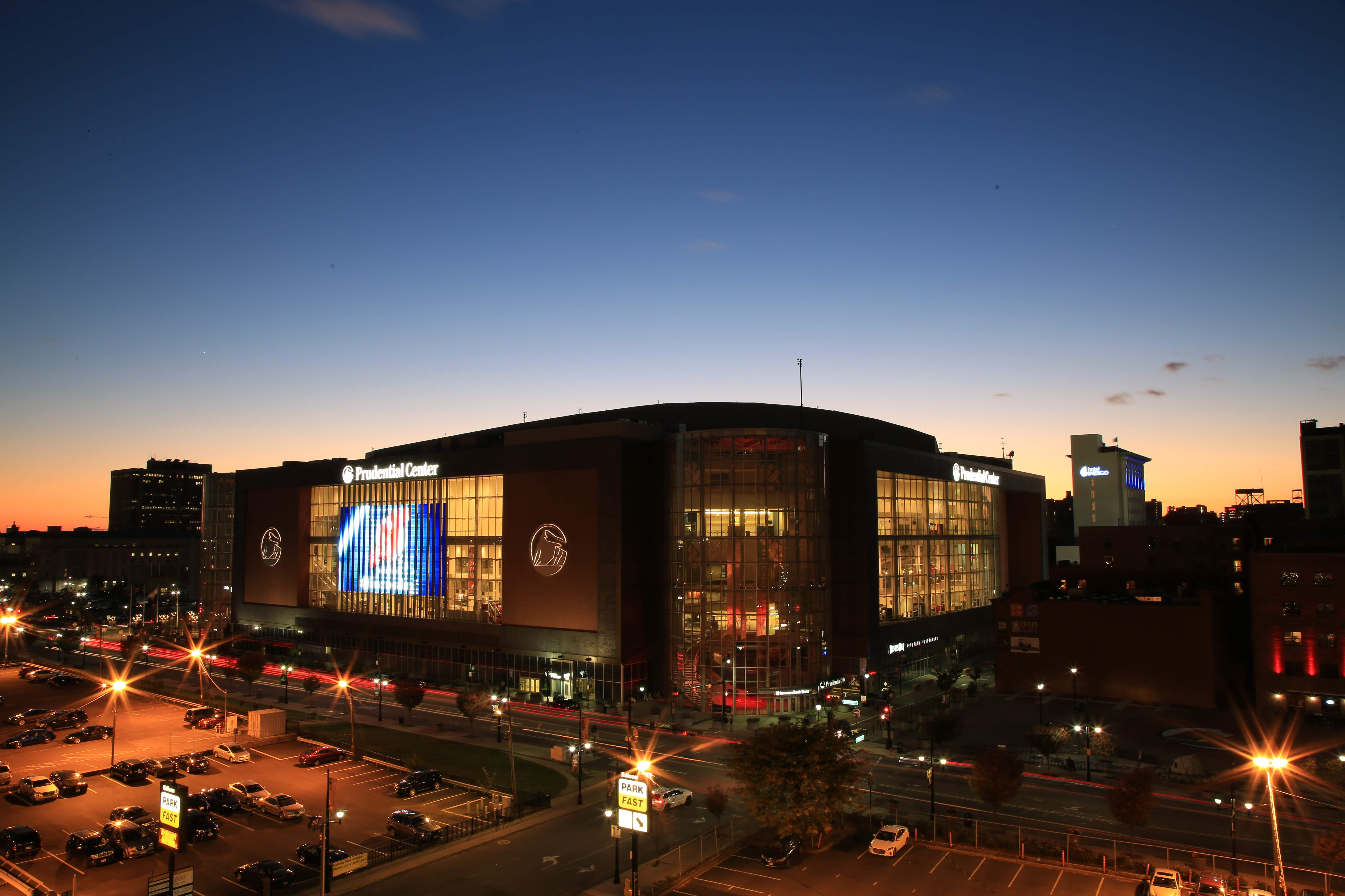 The exterior of Newark's Prudential Center.