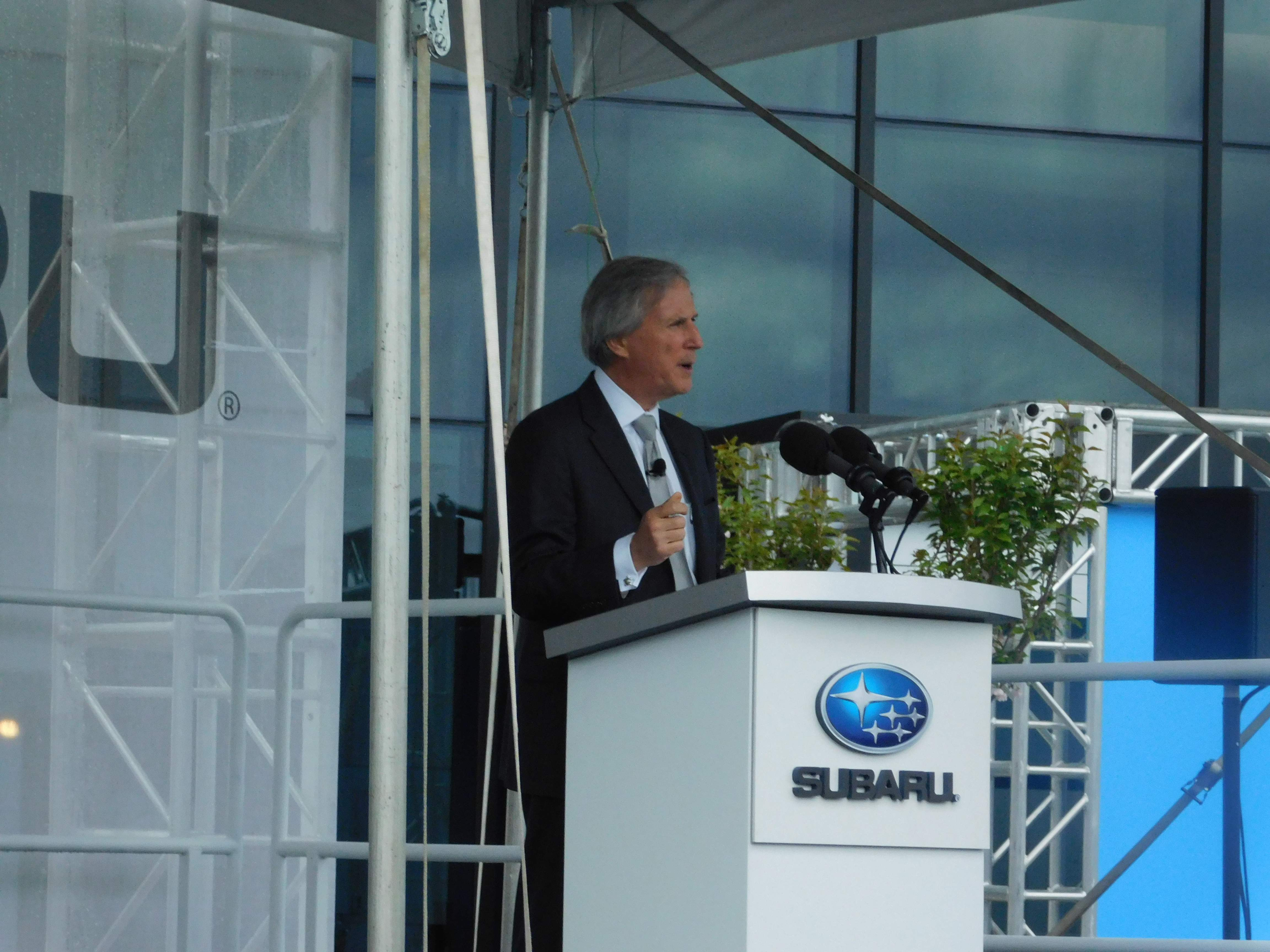Brandywine Realty Trust CEO Gerard Sweeney at the grand opening of Subaru of America's corporate headquarters in Camden.