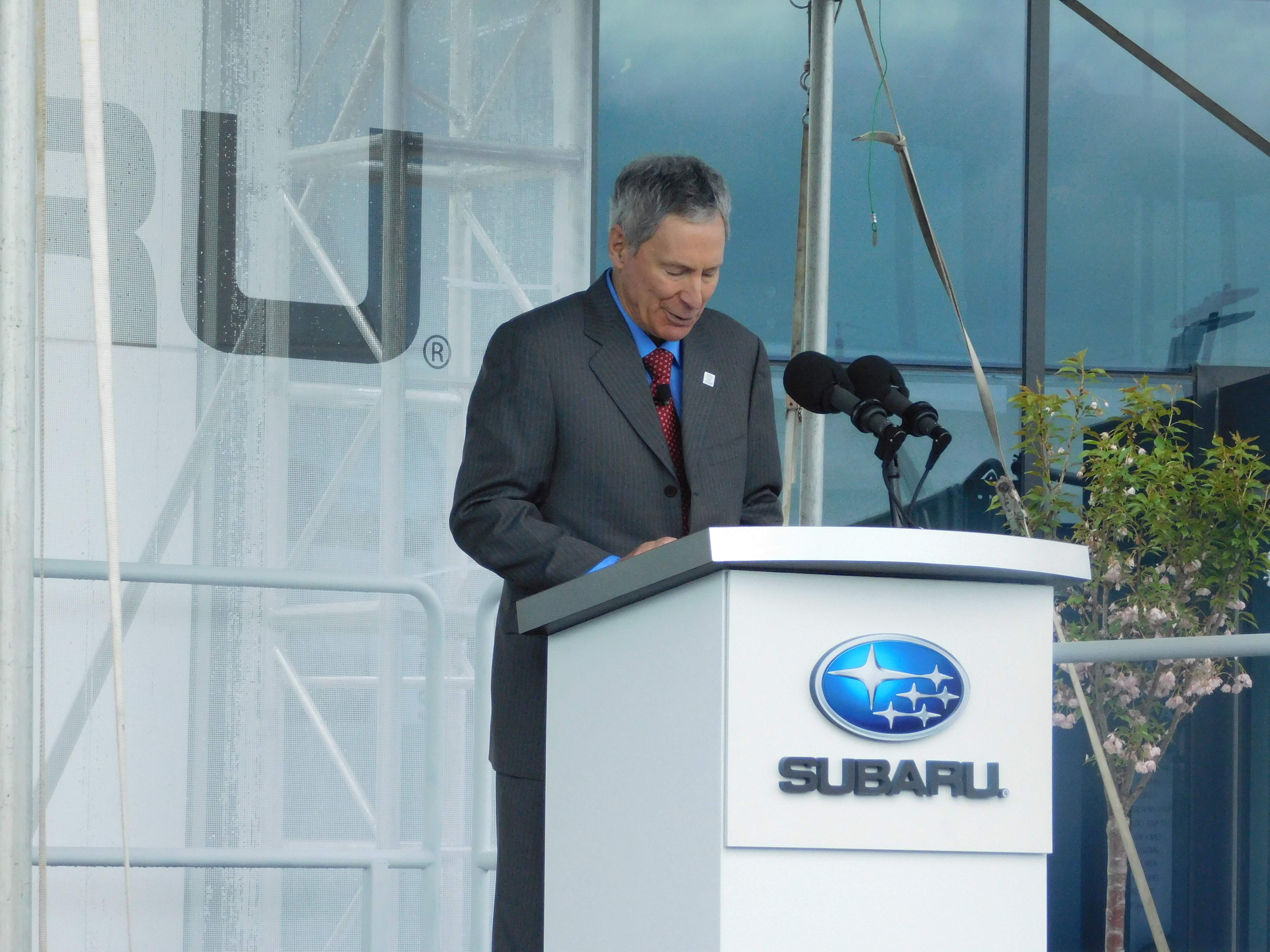 Subaru CEO Thomas J. Doll at the grand opening of Subaru of America's corporate headquarters in Camden.