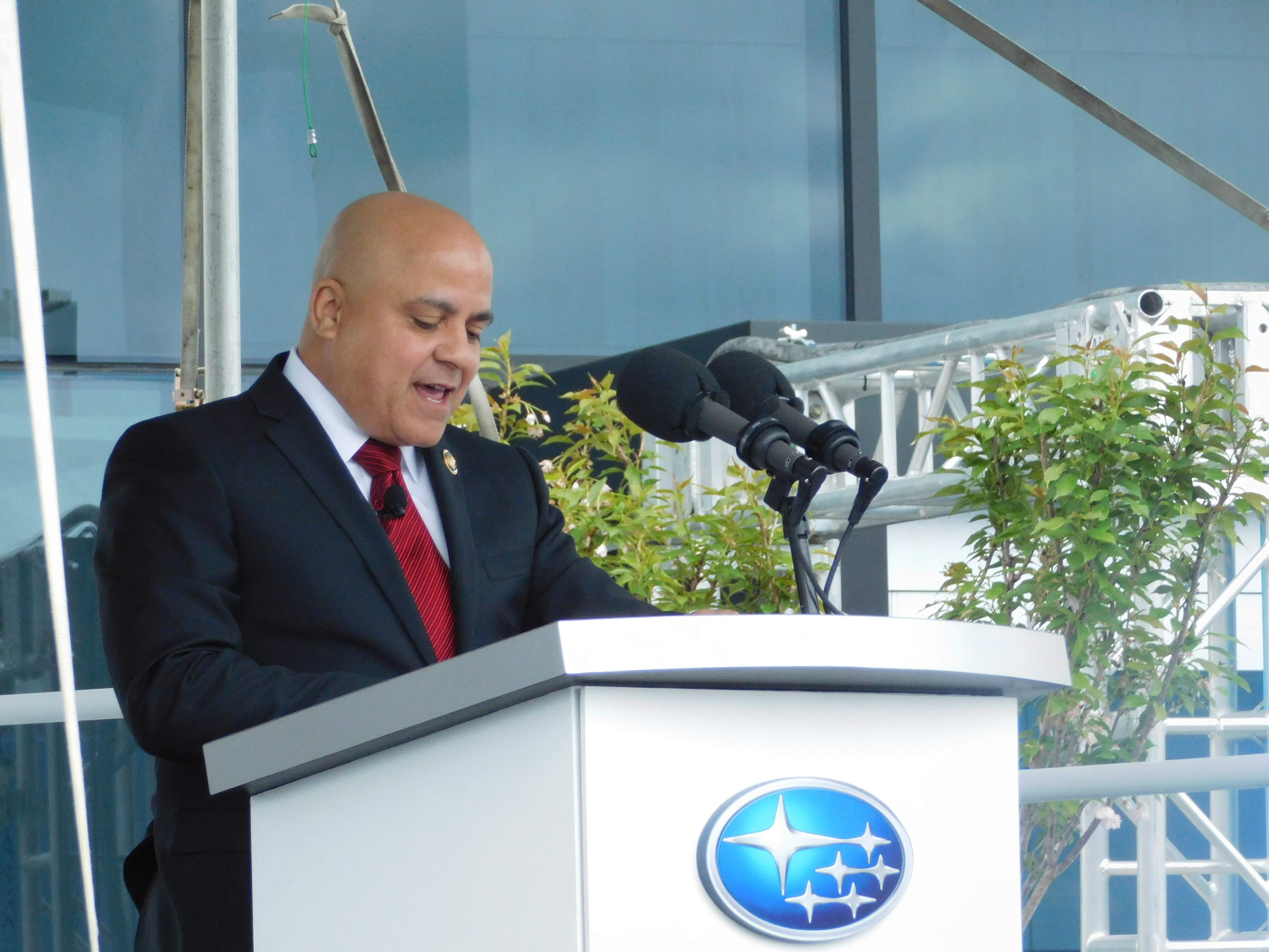 "Camden Mayor Francisco ""Frank"" Moran at the grand opening of Subaru of America's corporate headquarters in Camden."