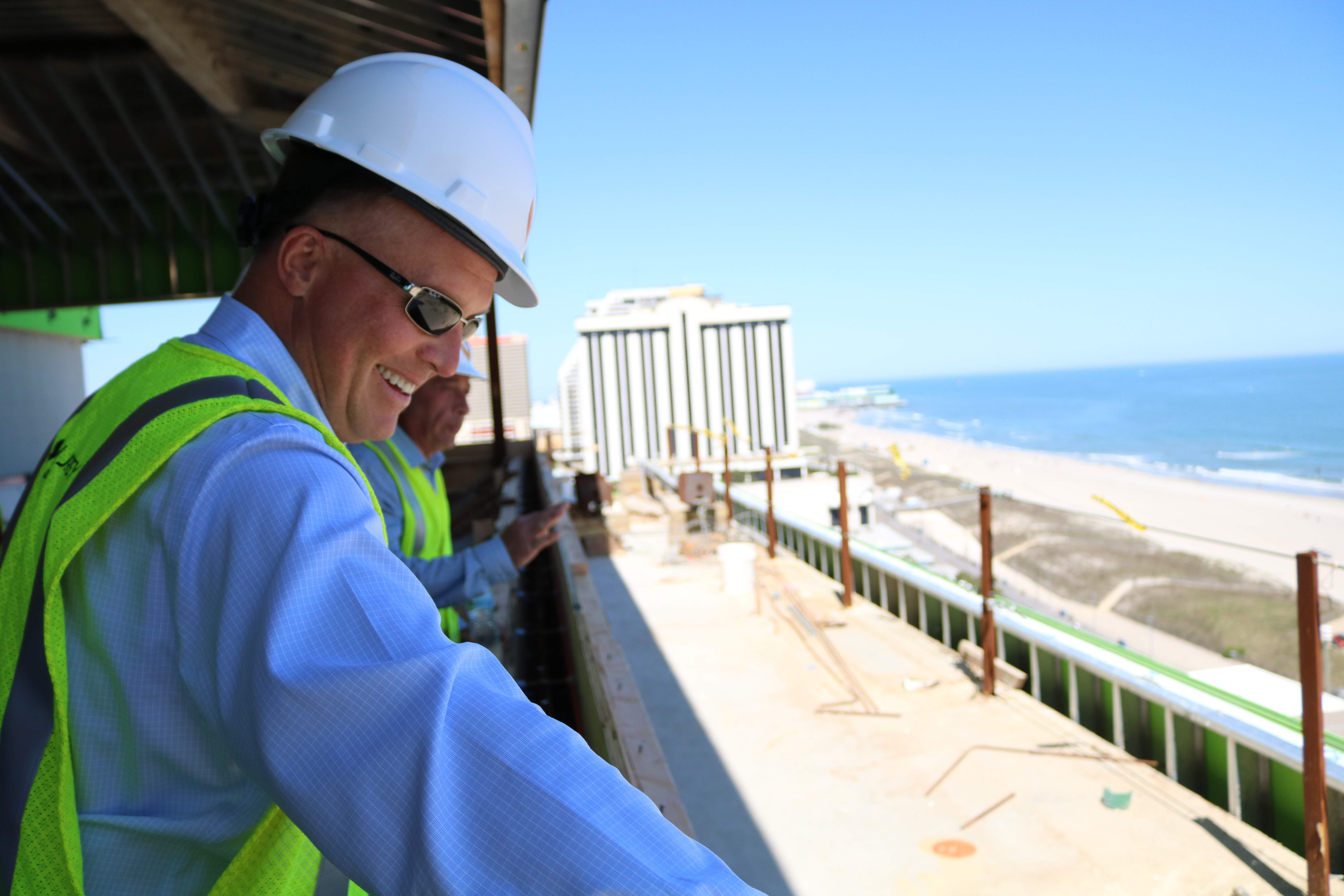 South Jersey Gas President Dave Robbins enjoys the view from the developing top floor of the new South Jersey Gas headquarters.