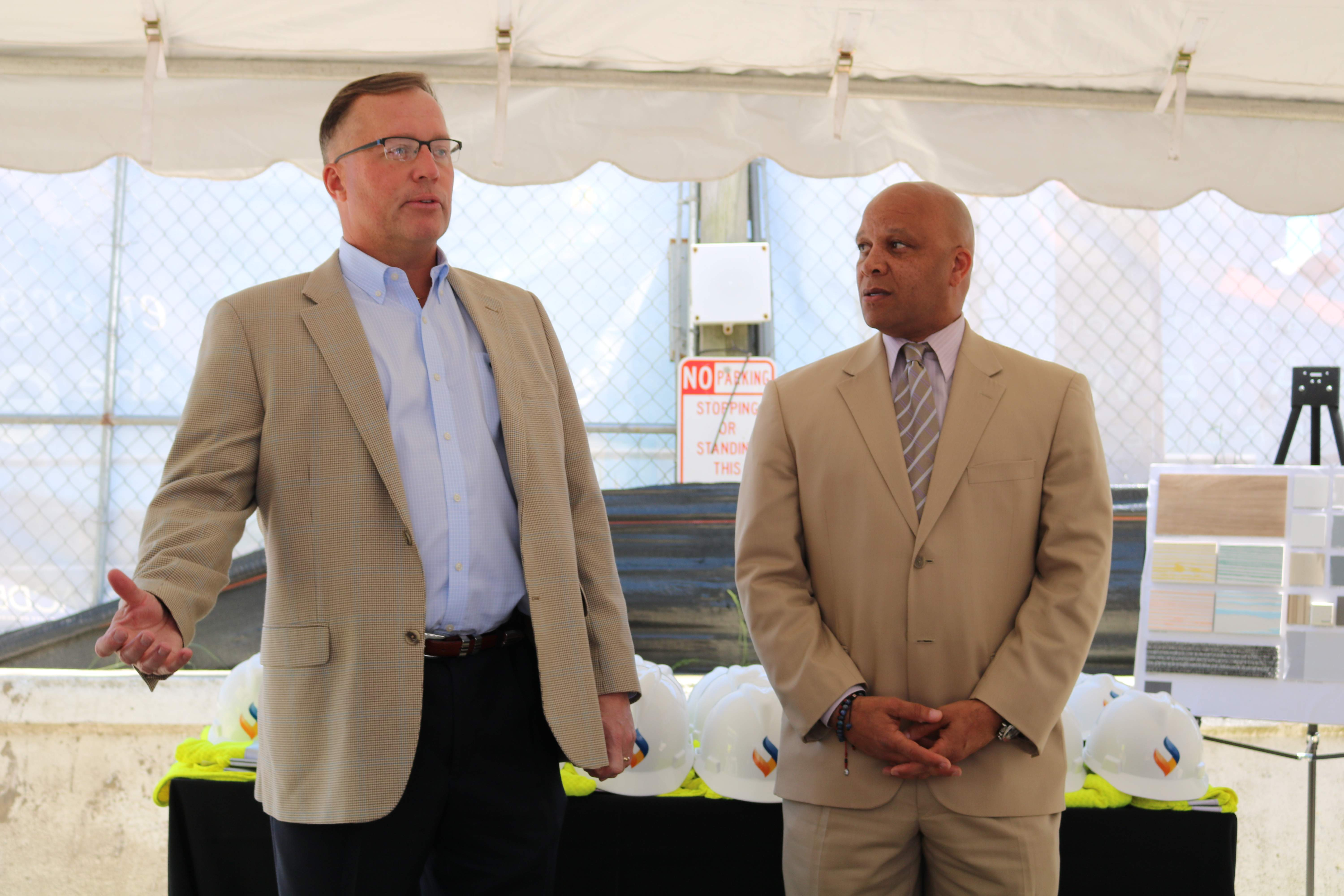 South Jersey Gas President Dave Robbins and Mayor of Atlantic City Frank Gilliam Jr. speak to guests prior to the hard hat tour of the new South Jersey Gas headquarters, currently under construction.