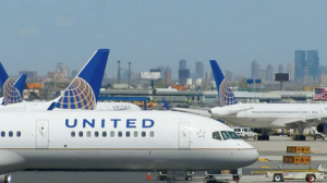 A United Airlines plane at Newark Airport