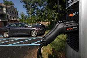 An electric vehicle charging stations at Signature Place in Morris Plains.