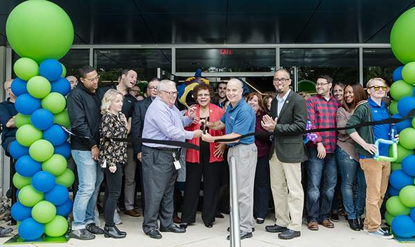 Cutting the ribbon to celebrate the official opening of Billtrust's new corporate headquarters in Lawrence Township on Sept. 24, 2018 are, from left, Billtrust CFO Edward Jordan; Sen. Shirley Turner, D-15th District; Billtrust Founder and CEO Flint Lane; and Lawrence Township Mayor Christopher Bobbitt.