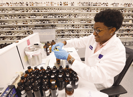 Lab assistant Breonna Burke in the fragrance lab.