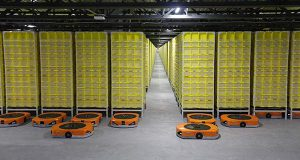 Warehouse robots are ready for action at Amazon's new fulfillment center in West Deptford.