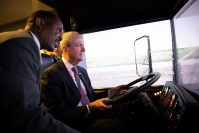 Gov. Phil Murphy addresses New Jersey Transit employees training to become new locomotive engineers and bus operators at the NJ Transit Ferry Street training facility in Newark on Jan. 17, 2019.