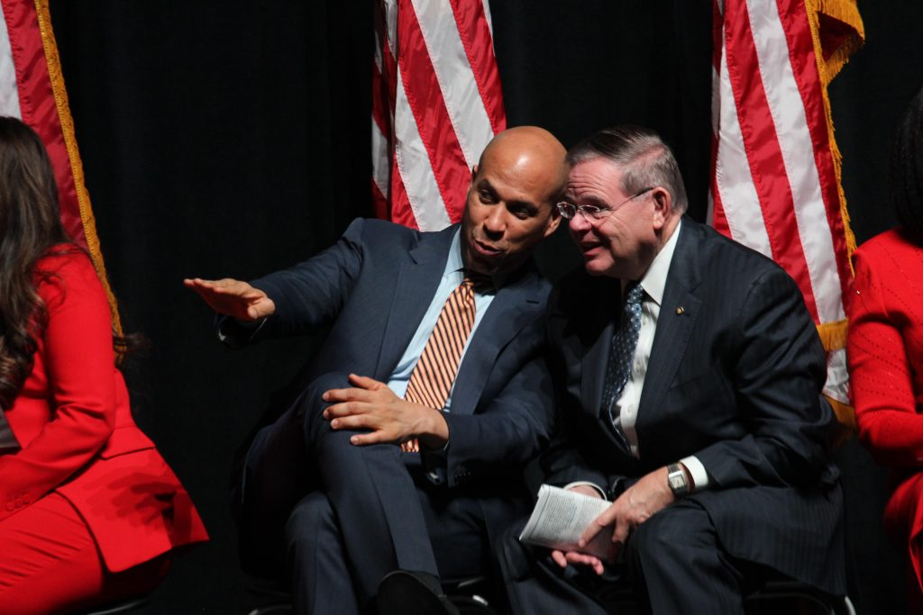 From left, Sens. Cory Booker and Robert Menedez.