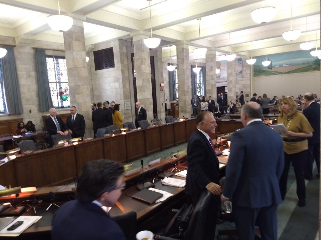 Lawmakers arrive in Trenton on Feb. 11, 2019 for a legislative hearing scrutinizing a January audit of $11 billion of tax incentives awarded by the state between 2005 and 2017.
