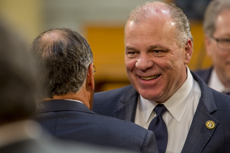 Senate President Stephen Sweeney at the 2020 budget  address in Trenton on March 5, 2019.