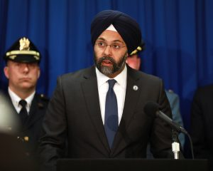 Attorney General Gurbir Grewal announce arrests from Operation Stone Wall at the Camden County Police Station in Camden on March 18, 2019. - OFFICE OF THE ATTORNEY GENERAL/TIM LARSEN