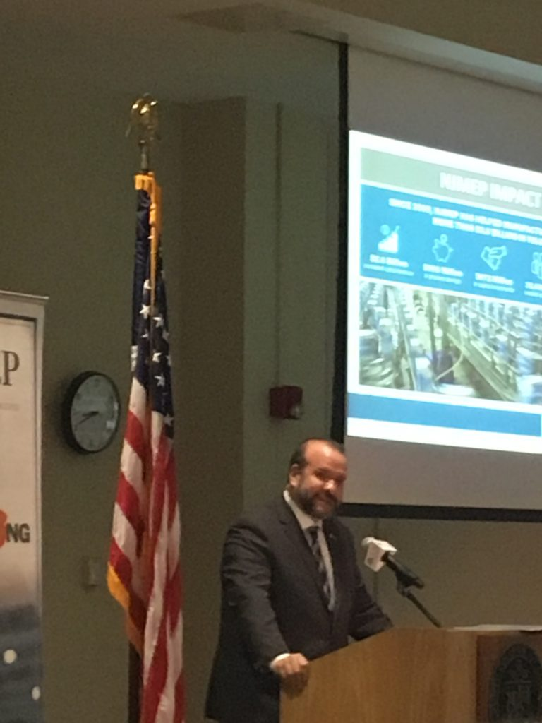 New Jersey Department of Labor Commissioner Rob Angelo-Asaro speaks at the NJMEP State of the State of Manufacturing event on March 29, 2019 at the County College of Morris.