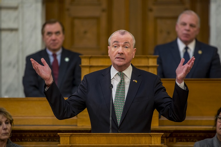 Gov. Phil Murphy delivers his 2020 budget address on March 5 in Trenton. - AARON HOUSTON