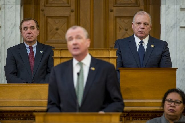 From left, Assembly Speaker Craig Coughlin, Gov. Phil Murphy and Senate President Stephen Sweeney at the governor's Fiscal Year 2020 Budget Address on March 5, 2019.