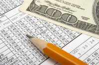 close up of sports betting slip, pencil and one hundred dollars, betting, sports betting, stock, stock photo