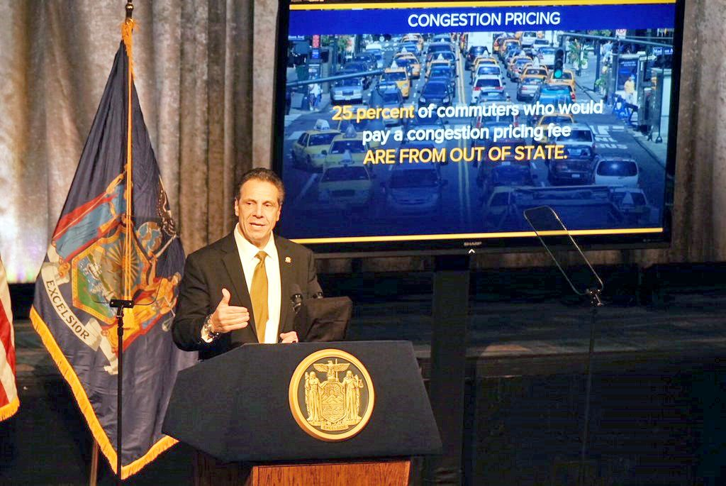 New York Gov. Andrew Cuomo called on the state legislature to enact a congestion pricing plan to fund the MTA's capital program in order to prevent a nearly 30 percent MTA fare hike or further deterioration of the transit system.