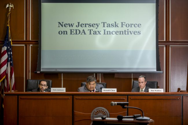 The public hearing of the New Jersey Task Force on EDA Tax Incentives on May 2, 2019.