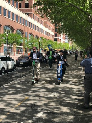 The city of Hoboken launches its first-in-the-tri-state-area scooter share program on May 20, 2019.
