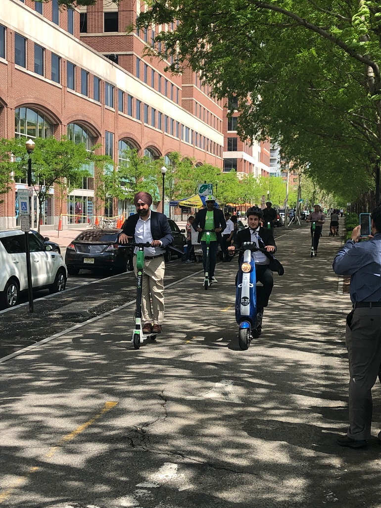 The city of Hoboken launches its first-in-the-tri-state-area scooter share program on May 20, 2019. - LIME