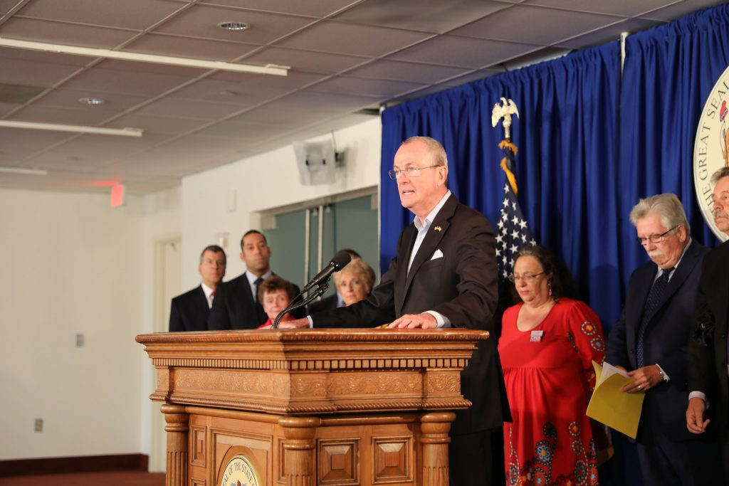 Gov. Phil Murphy holds a press conference to discuss the budget on June 18, 2019.