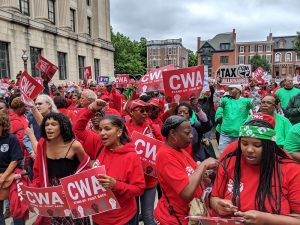 Groups, including the CWA, demonstrate in Trenton on June 13, 2019 in support of Gov. Phil Murphy's millionaire's tax, and againsta series of proposed cuts to public worker pensions and health care. - DANIEL J. MUNOZ