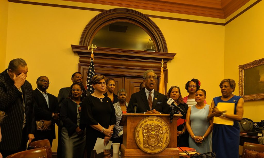 Sen. Ron Rice holds a press conference on June 27, 2019 calling for Gov. Murphy to sign a marijuana expungement bill and for the Legislature to approve marijuana decriminalization bill.
