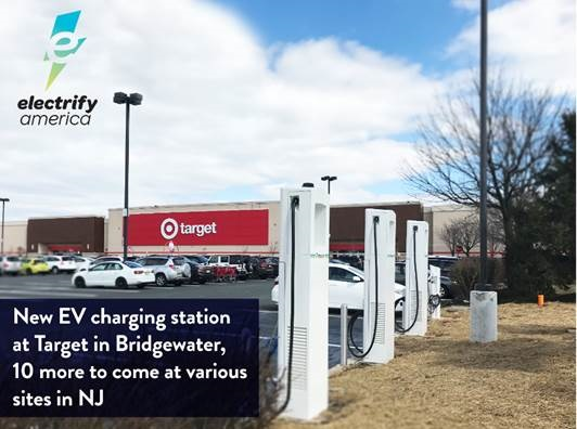 Electrify America's first New Jersey electric vehicle charging station location is open now in Bridgewater.
