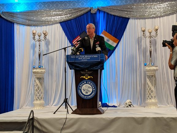At a press conference at the Spice Culture Restaurant in South Plainfield on July 15, Gov. Phil Murphy announced he will travel to India in September.