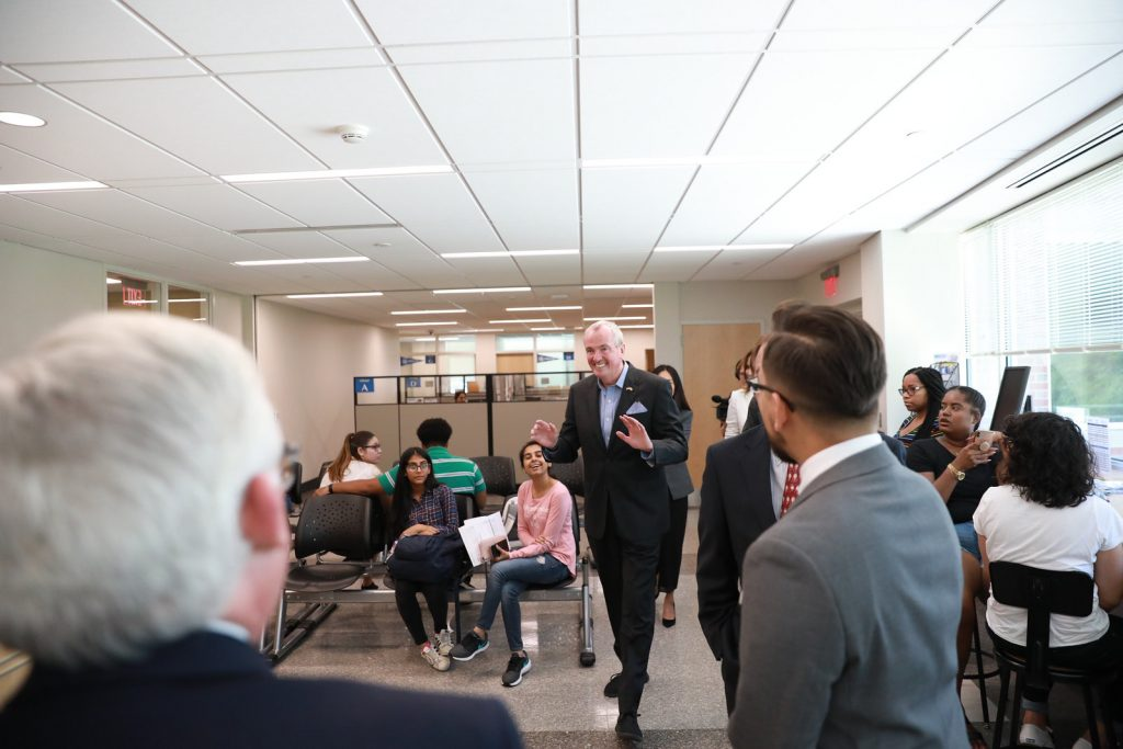 Gov. Phil Murphy encourages students at Middlesex County College to apply the FAFSA or New Jersey Alternative Financial Aid Application for New Jersey DREAMers to qualify for the Community College Opportunity Grant program on Aug. 15, 2019.E