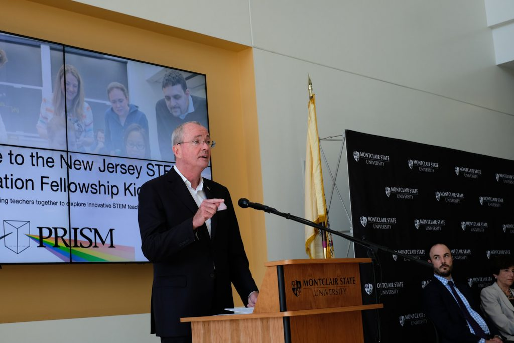 Gov. Phil Murphy makes an address at Math for America's NJ STEM Innovation Fellowship Summer Institute at Montclair University on Aug. 22, 2019.