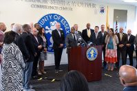 Gov. Phil Murphy, Essex County Executive Joe DiVincenzo Jr., Mayor Ras Baraka, Essex County Freeholder President Brendan Gill, and Essex County officials make an announcement on the replacement of Newark lead service lines in Newark on Aug. 26, 2019.