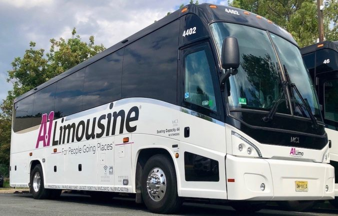 One of the newest additions to the A-1 Limousine fleet, the 44-passenger luxury motor coach boasts the newly redesigned logo.