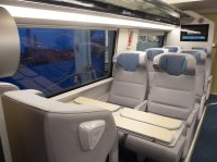 The new Acela trainset interiors will feature winged headrests and spacious and smooth leather seats, constructed from recycled leather.