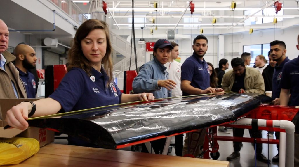 "NJIT's Aero SAE team spent the sprint semester building the team's ""largest plane yet"" with a wing-span of eight feet in the Makerspace."