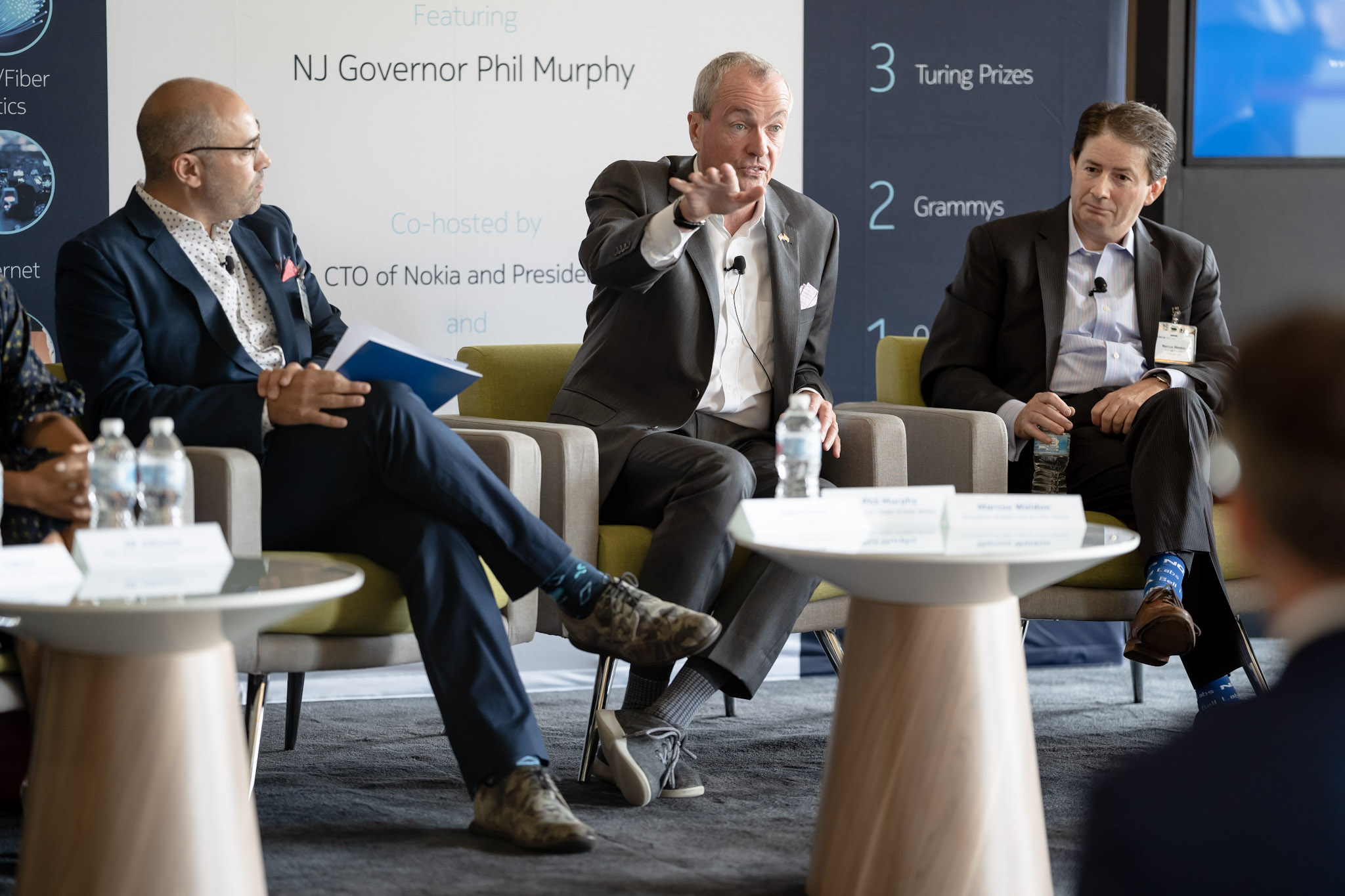 From left, NJ Tech Council CEO Aaron Price, Gov. Phil Murphy and Nokia Bell Labs President Marcus Weldon take part in an innovation panel event at Nokia Bell Labs in Murray Hill on Aug. 8, 2019.